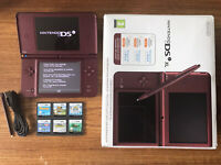 Nintendo DSi XL Burgundy Boxed Handheld System Console Bundle +6 Games & Charger