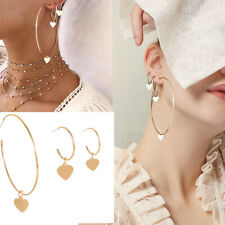 3Pcs/set Women Hoop Earrings Gold Love Heart Dangle Big Round Fashion Jewelry