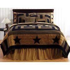 3-piece Queen Delaware Star Quilt & Pillow Case Set - Plaids and Stars BLACK/TAN