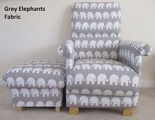 Grey Elephants Fabric Adult Chair & Footstool Animals Armchair Nursery Playroom