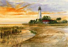 St. Marks Lighthouse Sunset Florida Gulf Coast. Gerald Hill Watercolor Notecards