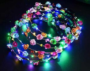 5x LED Blumenkranz Kronen Blink Haarreif Haarschmuck Stirnband leuchtend