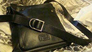 Versace  Messenger bag , Black leather , New.