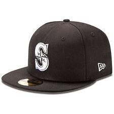New Era 5950 SEATTLE MARINERS Black White Cap Fitted MLB 59FIFTY Baseball Hat