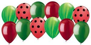 12 pc Green Agate & Red Polka Dot Latex Balloon Assortment Summer Watermelon