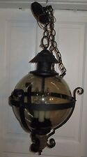 VTG LARGE Medieval GOTH HANGING CHANDELIER LAMP Metal Light Fixture SMOKE Glass