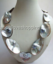"""42-60mm  oval heart baroque MABE pearl necklace MABE magnet clasp 23"""" USA BY EUB"""