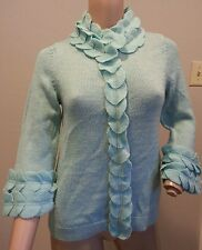 RARE Moth Anthropologie Swallow's Twitter Glee Blue Wool Felt Cardigan Sweater S