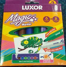 2 paquetes de 8 marcadores de intercambio Luxor Magic Color Fieltro Punta Plumas Fieltros Para Niños Edad 3+