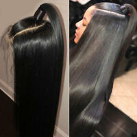Silky Straight Black Wig Pre Plucked Real Indian Human Hair Full Lace Front Wigs