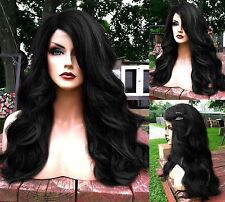USA: Heat Safe BABY HAIR Off Black Wavy & Curly Lace Front & Part Wig