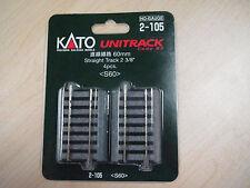 "Kato HO-scale UniTrack 60mm 2-3/8"" Straight 2-105 (4)"