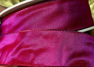 """Vintage French Ribbon Acetate 1.5"""" Magenta 1yd +16"""" Made in France"""