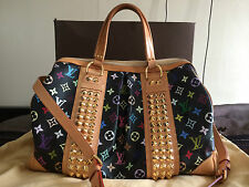 LOUIS VUITTON Monogram Black Studded Multicolore Canvas Courtney GM Bag