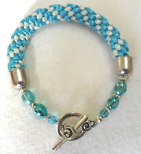 """Kumihimo bracelet 10mm wide, with beads - blues 6.75"""""""