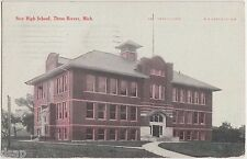 1909 THREE RIVERS Michigan Mich Postcard NEW HIGH SCHOOL Building