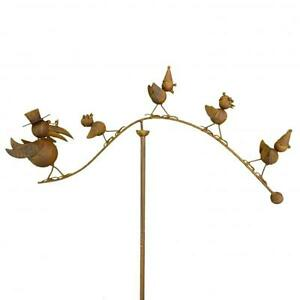 Spinning Balancing Crow Family Metal Garden Wind Spinner Ornament