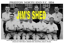 PRESTON NORTH END F.C.TEAM PRINT 1934 ( SHANKLY / MAXWELL / MILNE / PEARS )