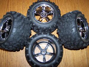 (4) Traxxas 49077-3 3.3 T-Maxx Tires & 14mm 3.8 Wheels /Fit E-maxx 3906 4910 2.5