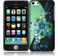 Apple iPhone 5C Rubberized HARD Protector Case Phone Cover Blue Green Flowers