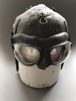Vintage ORIGINAL USSR aviator's Helmet leather 1956 year Glasses Pilot ( PO-1M )