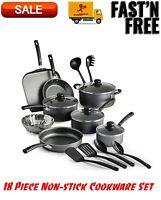 Primaware 18 Piece Non-stick Cookware Set, Steel Gray, Kitchen Home, Pots & Pans