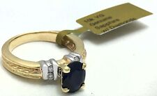 GENUINE 1.55 Cts BLUE SAPPHIRE & DIAMONDS 10k Gold RING ** FREE APPRAISAL **