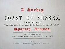 1870 Survey Sussex Coast 1587 Lower Baxter Lewes Private Printing Antique Atlas