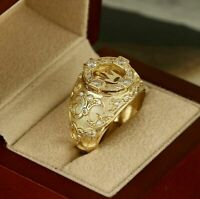 Luxury Men's Gold Filled White Sapphire Crown Ring Wedding Engagement Size 6-13