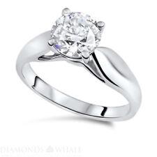 Round Cut 14K Gold Ring Si1/D Enhanced Engagement Bridal Diamond Ring 1.01 Ct