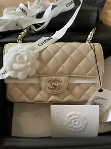 AUTHENTIC CHANEL 21P IRIDESCENT CHAMPAGNE GOLD MINI FLAP BAG LGHW *NEW!!