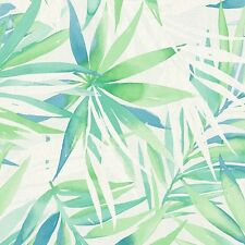 Green Blue & White Palm Leaves Tropical Wallpaper - 10m - Made in Germany