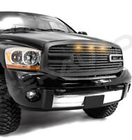 06-09 RAM Front Hood Matte Black Big Horn II Replacement Grille+LED+Black Shell