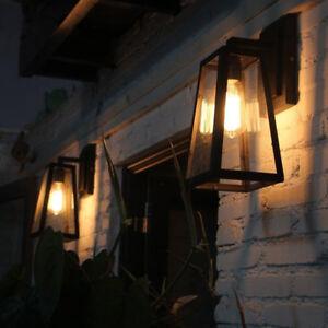 Vintage Loft Clear Glass Black Metal Lantern Indoor Porch Wall Lights Fixtures