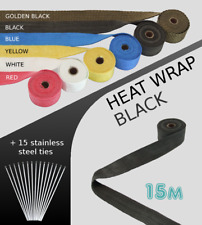 UNIVERSAL CAR BIKE EXHAUST HEAT WRAP with ties -15 METRE BLACK 15M-B-FIA1