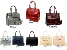 New Women's 2 In 1 Elegant Bow Detail Patent Top Handle Hand Bag With Purse Set