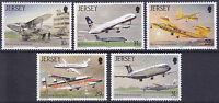 JERSEY MNH UMM STAMP SET 1987 SG 409-413 AVIATION HISTORY III AIRPORT 50TH