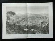 GRAVURE ANCIENNE 19e - VUE DE ROME ITALIE - A VOL D'OISEAU - GRAND FORMAT