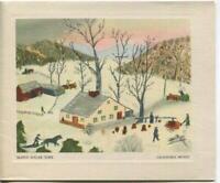 VINTAGE CHRISTMAS MAPLE SYRUP SUGAR TIME TREES SNOW GRANDMA MOSES GREETING CARD