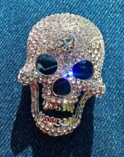 Scull Brooch Pin Large Glittery Crystal