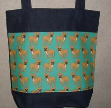 NEW Handmade Large French Bulldog Frenchy Denim Tote Bag Gift