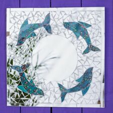 Mosaic Dolphin Fish Mirror Glass Wall Hanging Fair Trade Hand Made in Bali