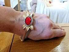 silver double strand chain and red crystal Brand new bracelet with a gold and