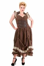 Brown Stripe Victorian Copper Corset Steampunk PLUS SIZE Dress By Banned Apparel