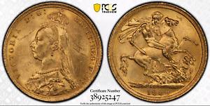 1889 S Gold Sovereign MS62 PCGS Australia Sydney
