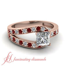 1 Carat Split Pave Set Womens Engagement Rings With Princess Diamond And Ruby