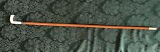 Antique 19th C Walking Cane Carved Handle & Ferrule Silver Band Bamboo Stick 32""