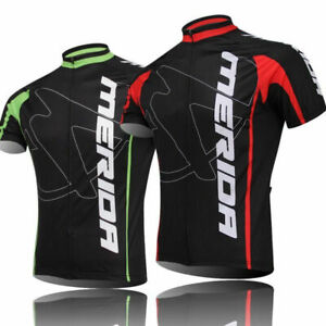 Merida Cycle Jersey Men's Short Sleeve Cycling Jersey Bicycle Shirt Green Red