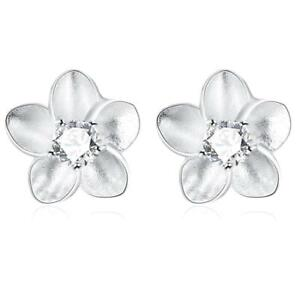 *UK* Silver Plated Flower Frangipani White Stud Crystal Earrings Petals Floral