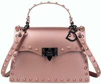 Pink Spiky Medium Handbags for Women with Studs Trendy Fashion Summer 2020 Bags